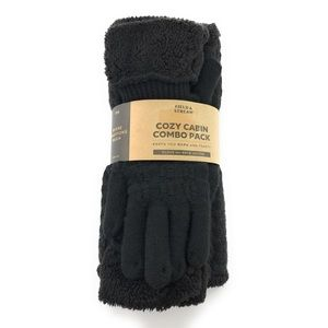 Field & Stream Black Cable Snood & Gloves Gift Set